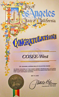 The Dr. Susanne Lawrenz-Miller Education Award, given to COSEE-West, Spring 2009