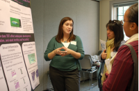 UW graduate student Amanda Bruner engages marine volunteers in a discussion about her marine research