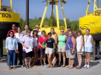 Coastal Trends Institute participants in front of CBOS buoys