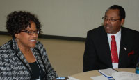 Dr. Mabel Mathews, NASA with Dr. Larry Campbell, UNC-CH