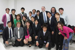Dr. Mike Spranger and Ms. Karen Blyler pose with graduate students and faculty at the Tokyo University of Marine Science and Technology