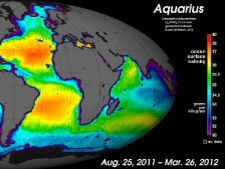 Global map of sea surface salinity