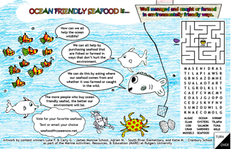 Placemat created by MARE students, focusing on sustainable seafood practices