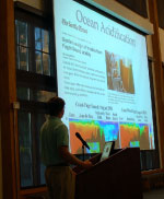 Jonathan Kellogg, UW School of Oceanography graduate student, presenting on oceanic variations in Puget Sound