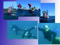 Teachers snorkeling on a shipwreck during the Lake Huron Exploration Workshop