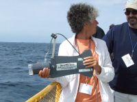 Barbara LaMourea gets tips from Steve Stewart on how to use the Sea Viewer to investigate quagga mussels