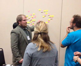 Workshop attendees work out a concept map