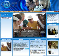 Screenshot of the COSEE.net home page