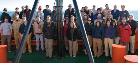 The research team on the Nathaniel B. Palmer. (Photo by Debbie Nail Meyer)