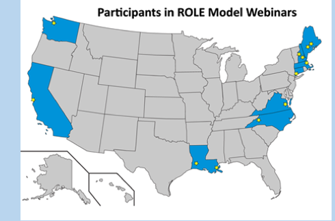 map of participant locations for ROLE Model Webinars I & II