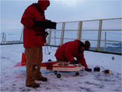 Unmanned aerial vehicle (UAV) used to take aerial images of and deploy GPS units at icebergs.