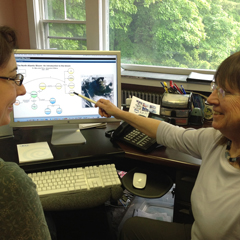 Scientist Mary Jane Perry (right), educator Carla Companion collaborate on a webinar about the bloom.