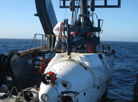 Peter enters the Deep Submergence Vehicle ALVIN to visit a vent on the Juan de Fuca Ridge.